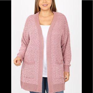 NWT Plus Lt Rose Popcorn Sweater